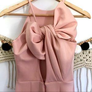 ASOS Dresses - ASOS Pink Blush Bow Scuba Pencil Slit Midi Dress